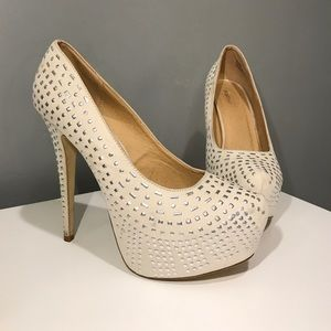 White Heels with silver embellishments